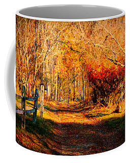 Coffee Mug featuring the photograph Walking Down The Autumn Path by Jeff Folger