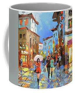 Walking In Old Street, City Scene. Coffee Mug