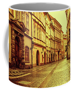 Coffee Mug featuring the photograph Walking In Prague. Series Golden Prague by Jenny Rainbow