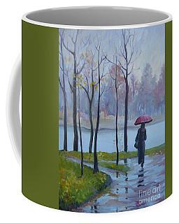 Walking In The Rain Coffee Mug by Elena Oleniuc