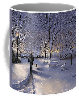 Coffee Mug featuring the painting Walking In The Snow by Veronica Minozzi