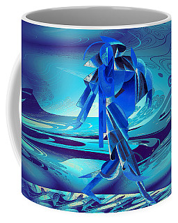 Coffee Mug featuring the digital art Walking On A Stormy Beach by Robert G Kernodle