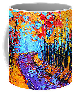 Coffee Mug featuring the painting Walking Within - Enchanted Forest Collection - Modern Impressionist Landscape Art - Palette Knife by Patricia Awapara