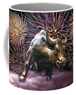 Wall Street Bull Fireworks Coffee Mug
