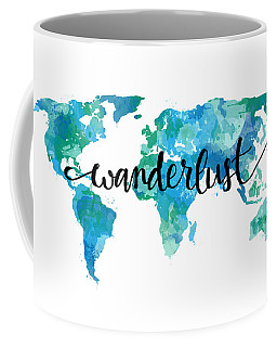 Wanderlust Teal World Map Coffee Mug