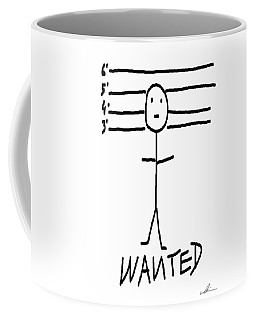 Coffee Mug featuring the drawing Wanted - Stickman  by Marianna Mills