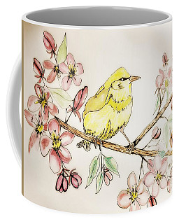 Warbler In Apple Blossoms Coffee Mug by Maria Urso