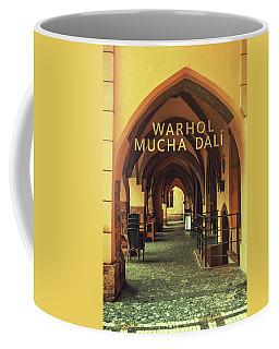 Coffee Mug featuring the photograph Warhol Mucha Dali. Series Golden Prague by Jenny Rainbow