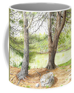 Coffee Mug featuring the drawing Warriors Path St Park by Mike Ivey