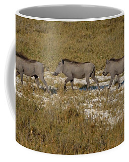Coffee Mug featuring the photograph Warthog Parade by Tom Wurl