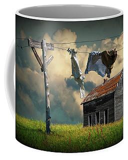 Wash On The Line By Abandoned House Coffee Mug