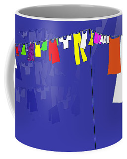 Coffee Mug featuring the digital art Washing Line by Barbara Moignard