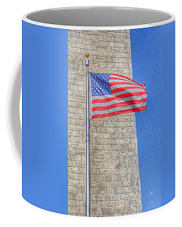 Washington Monument With The American Flag Coffee Mug