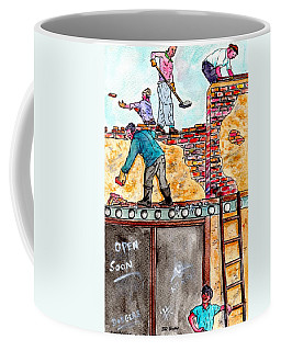 Watching Construction Workers Coffee Mug