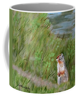 Coffee Mug featuring the painting Watching The Tourists by Linda Feinberg