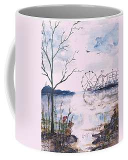 Coffee Mug featuring the painting Watching The World Go Round by Reed Novotny