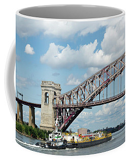 Hell Gate Bridge And Barge Coffee Mug