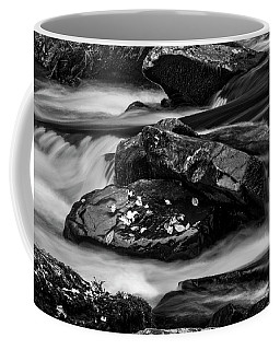 Water Around Rocks In Black And White Coffee Mug