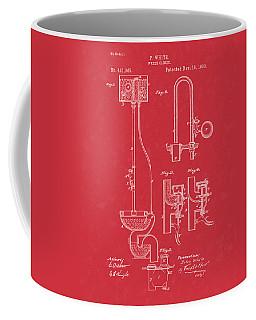 Water Closet Patent Art Red Coffee Mug