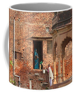 Coffee Mug featuring the photograph Water Delivery In Vrindavan by Jean luc Comperat