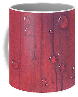 Water Drops On Red Coffee Mug