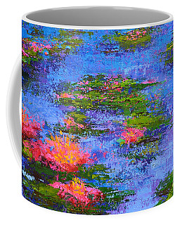 Coffee Mug featuring the painting Waterlilies Lily Pads - Modern Impressionist Landscape Palette Knife Work by Patricia Awapara