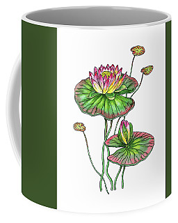 Water Lily Botanical Watercolor  Coffee Mug