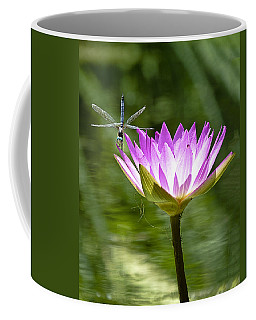 Coffee Mug featuring the photograph Water Lily With Dragon Fly by Bill Barber