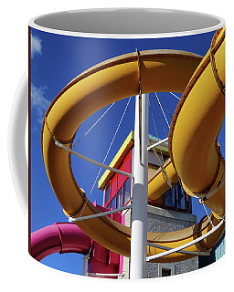 Water Slides At Bundoran Waterworld - Abstract, Bright Primary Colours Against A Deep Blue Sky Coffee Mug