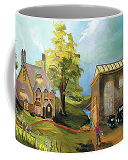Coffee Mug featuring the painting Water Wheel by Donna Hall