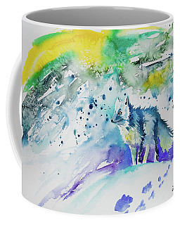 Coffee Mug featuring the painting Watercolor - Arctic Fox by Cascade Colors