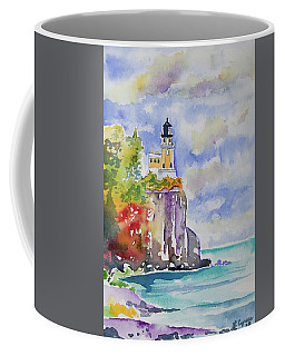 Watercolor - Autumn At Split Rock Lighthouse Coffee Mug