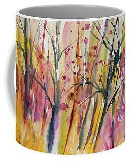 Coffee Mug featuring the painting Watercolor - Autumn Forest Impression by Cascade Colors