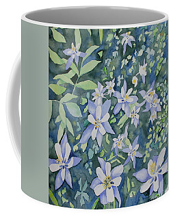 Coffee Mug featuring the painting Watercolor - Blue Columbine Wildflowers by Cascade Colors