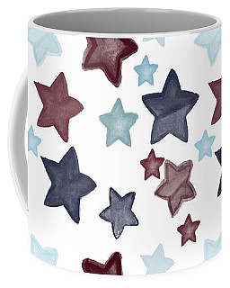 Watercolor Blue Red Stars Coffee Mug