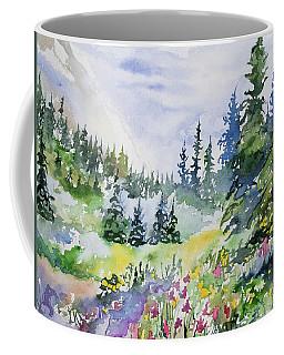 Coffee Mug featuring the painting Watercolor - Colorado Summer Scene by Cascade Colors