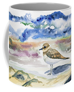 Coffee Mug featuring the painting Watercolor - Double-banded Plover On The Beach by Cascade Colors