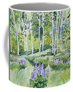 Watercolor - Early Summer Aspen And Lupine Coffee Mug