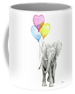 Watercolor Elephant With Heart Shaped Balloons Coffee Mug
