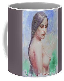 Watercolor Female Nude Girl #16-12-7-01 Coffee Mug by Hongtao Huang