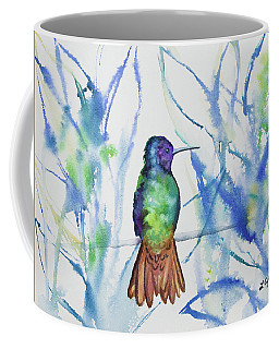 Coffee Mug featuring the painting Watercolor - Golden-tailed Sapphire by Cascade Colors