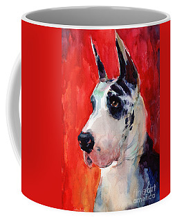 Watercolor Harlequin Great Dane Dog Portrait 2  Coffee Mug by Svetlana Novikova
