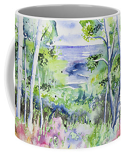 Coffee Mug featuring the painting Watercolor - Lake Superior Impression by Cascade Colors