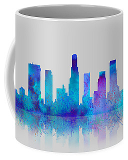 Coffee Mug featuring the digital art Watercolor Los Angeles Skylines On An Old Paper by Georgeta Blanaru