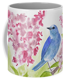 Coffee Mug featuring the painting Watercolor - Mountain Bluebird by Cascade Colors