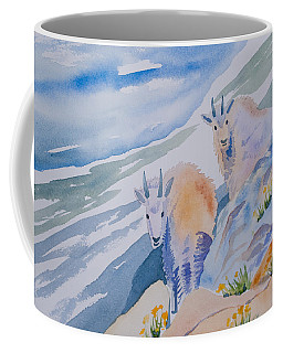Coffee Mug featuring the painting Watercolor - Mountain Goats On Quandary by Cascade Colors