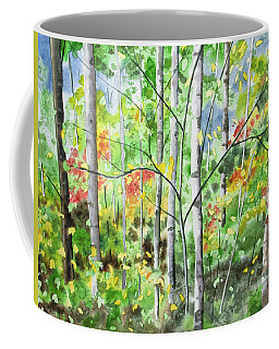 Coffee Mug featuring the painting Watercolor - Northern Forest by Cascade Colors