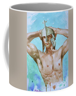 Watercolor Painting Male Nude Man On Paper#16-12-9 Coffee Mug by Hongtao Huang
