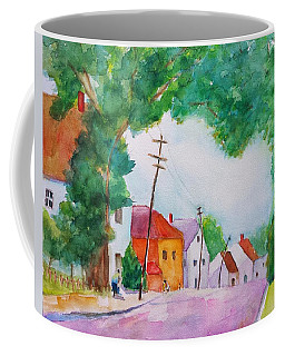 Watercolor Painting Of Cottage Street Coffee Mug