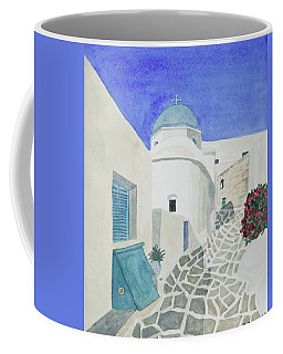 Coffee Mug featuring the painting Watercolor - Paros Church And Street Scene by Cascade Colors